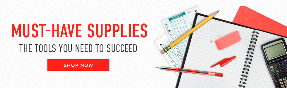 Picture of school supplies. Must-Have Supplies. The tools you need to succeed. Click to shop now.